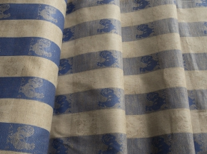 """Холст п/лен пестротканный жаккардовый арт. 601167 """"Петухи"""" синий 1*508/8, ширина 50см"""