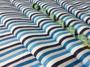 Бязь наб. плательная рис. 7178-2 Полоса сине-черно- белая, ширина 150см