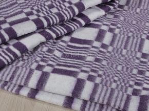 Одеяло байковое 140*205  клетка цв. фиолет