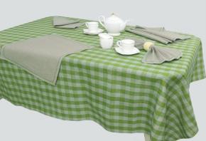 """15с278-ШР/уп.144х250 Комплект столовый """"Клетка"""" зеленый."""