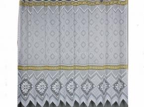19с12-Г10 рис 18058 занавеска 160*250 цв. белый с желтым бордюром