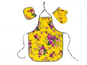 """Набор для кухни """"Цветы"""" желтый из 3-х предметов (фартук+рукавица+прихватка)"""