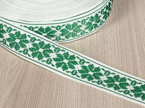 32мм. 9325 ЛЕНТА ОТДЕЛОЧНАЯ белый с зеленым 32мм (рул.25м)