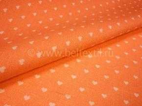 Ткань бельевая арт 175448 п/лен отб. набивной рис 64-17/3 Сердечки на оранжевом, шир 150см