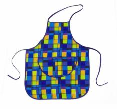 "Набор для кухни ""Клетка"" синий из 4-х предметов (фартук+ рукавица+ прихватка+ полотенце)"