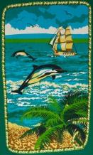 Полотно вафельное набивное 9С1-Ф1 ш.150 (1131/2) Дельфин зелёный