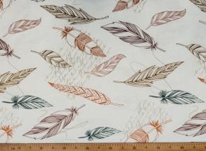 Ткань бельевая арт 175414 п/лен отб. набивной рис.3683/1 Перья, ширина 220см