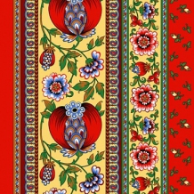 """Полотно вафельное наб.грунт """"Гранатовый браслет"""" рисунок 19039-1, ширина 50см"""