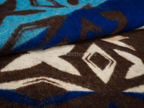 Одеяло п/шерсть 70% 140*205 жаккард цв. коричневый с синим