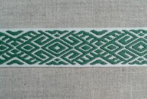9482 ЛЕНТА ОТДЕЛОЧНАЯ ЖАККАРД белый с зеленым 22мм (рул.25м)