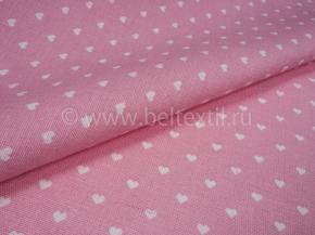 Ткань бельевая арт 175448 п/лен отб. набивной рис 64-17/1 Сердечки розовые, ширина 150см