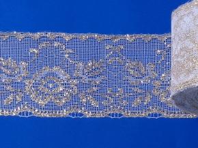 16С5-Г10-Л Кружево рис.1308 ш.75мм, белый/золото (рул.50м)