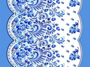 Полотно вафельное набивное грунт Гжель синий 9986/1 ширина 50см