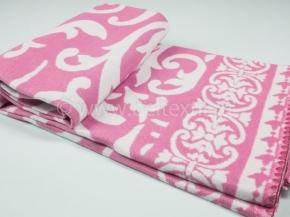 Одеяло п/шерсть 50% 140*205  жаккард Завиток цв.розовый