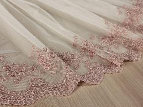 2.80м сетка с вышивка DENI B47  (PUDRA) цвет пудровый, ширина 280см
