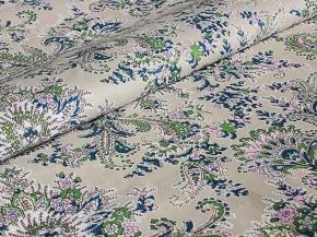 Ткань бельевая 17с-1ЯК п/лен набивной рис. Огурцы зеленые на сером, 150см