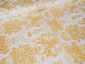Ткань набивная Глосс-сатин рис.XG(6456) WHITE, золотое напыление, ширина 220см