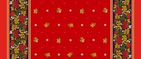 Ткань сувенирная рогожка набивная рис. Хохлома 2135/2 красный, ширина 150 см