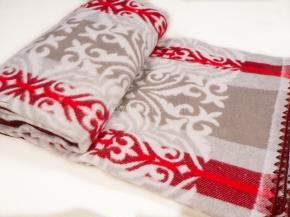 Одеяло хлопковое 140*205 жаккард 18 цв. красный с серым