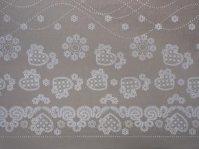 Ткань бельевая арт 175448 п/лен отб. набивной рис 09-16/1 Праздничный бежевый, ширина 150см