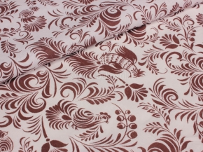 Ткань бельевая 17с-1ЯК п/лен набивной Петухи коричневый на белом, 150см