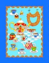 """Полотенце вафельное """"Чай"""" голубой 45*60 купон"""