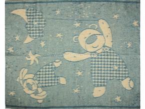 Одеяло п/шерсть 85% 100*140 жаккард цв. голубой
