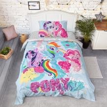 """КПБ 1.5 сп поплин """"My little Pony"""" 70х70 панно My little Pony"""