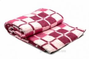 Одеяло хлопковое 140*205 клетка белый/красный/бордо