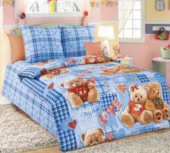 """1130 КПБ 1.5 спальный """"Плюшевые мишки"""" цвет синий"""