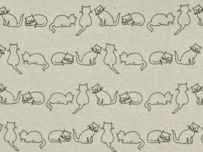 Ткань бельевая арт 175448 п/лен п/вареный набивной  рис. 4108/2 Кошки, ширина 150 см