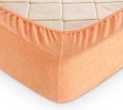 Простыня махровая на резинке 180*200*30 цвет персик