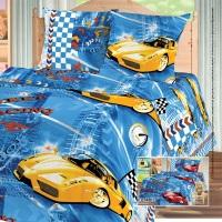 Бязь-универсал П13 набивная рисунок  0748/2 Гонки (машина желтая)  ширина 150см