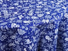 """20с-6ЯК Комп-кт Скатерть 150*180+ 4 салфетки """"Новогодние игрушки"""" цв. синий"""