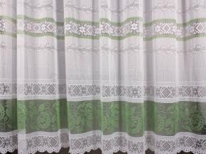 27С6-Г10 рис. 2118  занавеска 245*300 цв. белый с зеленой каймой