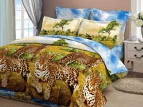 Бязь набивная Миледи люкс рис. 4126/1 3Д Леопарды у воды, ширина 220 см