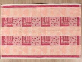 """17С317-ШР 48*70 полотенце """"Кофе"""" цв.32 красный с розовым"""