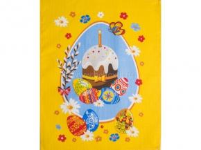 Полотенце вафельное 45*60 Пасха- кулич цвет желтый