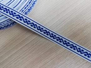 15мм. 90657 ЛЕНТА ОТДЕЛОЧНАЯ белый с синим 15мм (рул.25м)