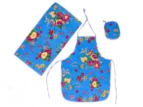 """Набор для кухни """"Цветы"""" голубой из 3-х предметов (фартук+полотенце+прихватка)"""
