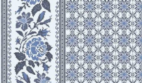 Ткань сувенирная рогожка набивная рис. Розочки 352/2 б/з синий, ширина 150 см