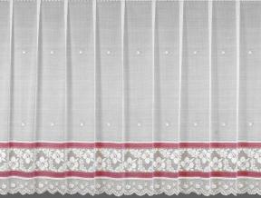 12с15-Г10 рис 1162 занавеска 160*400 цв. белый с розовым бордюром