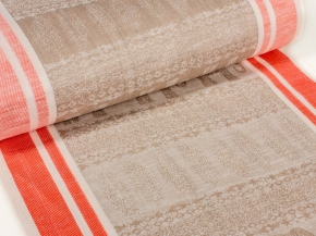 Холст полотенечный 601167 п/лен пестроткань жаккард рис. 1*1133/4 Сафари оранжевый, ширина 50см