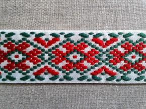 9723 ЛЕНТА ОТДЕЛОЧНАЯ ЖАККАРД бел./красн./зеленый, 37мм (рул.50м)
