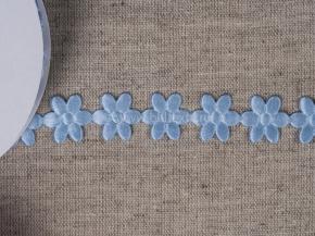 095030110 Лента декоративная шир.20мм, голубые цветы (уп.25ярдов/22,86м)
