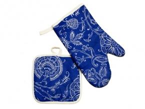 "3746 Набор кухонный рис.4423-01 ""Ажур"" цвет синий (рукавица + прихватка)"