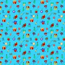 Вафельная -универсал В16 (0629/1) Новогодний сюрприз голубой, ширина 150см