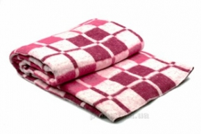 Одеяло хлопковое 140*205 клетка белый/бордо с розовым