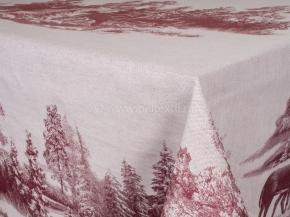 """07с-21 ЯК Скатерть 150*250  """"Зима в лесу"""" (олени) цв. бордо"""