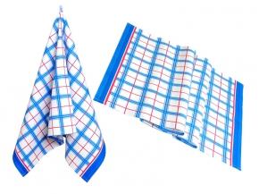 """2163-БЧ полотенце 95*50 """"Клетка"""" цвет голубой с красным"""